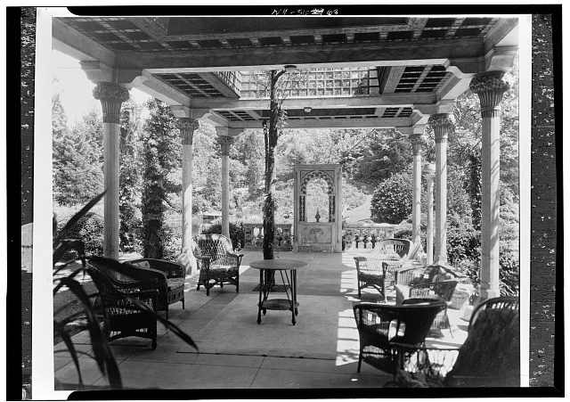 4.  Historic American Buildings Survey, David Aronow, Photographer circa 1924, VIEW OF PROJECTING VERANDA. - Laurelton Hall, Laurel Hollow & Ridge Roads, Oyster Bay, Nassau County, NY