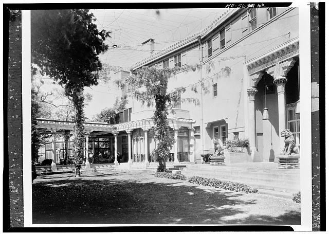6.  Historic American Buildings Survey, David Aronow, Photographer circa 1924, VIEW OF MAIN ENTRANCE WITH K'ANG HSI LIONS. - Laurelton Hall, Laurel Hollow & Ridge Roads, Oyster Bay, Nassau County, NY