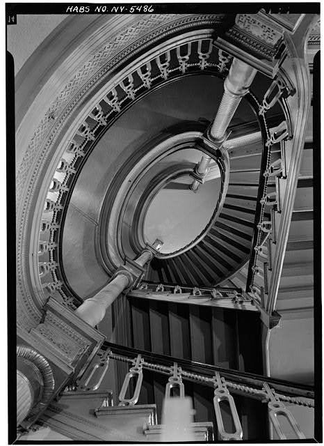 20.  Historic American Buildings Survey, May 1966, OVAL STAIRWAY DETAIL. - Metropolitan Opera House, 1423 Broadway, New York County, NY