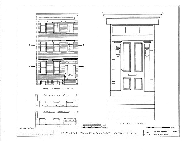 HABS NY,31-NEYO,61- (sheet 2 of 3) - 739 Washington Street (Town House), New York County, NY