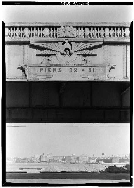 8.  Highway decoration at Desbrosses Street. - West Side Highway, New York County, NY