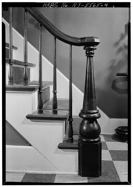 4.  INTERIOR, FIRST FLOOR, DETAIL OF NEWEL-POST AND PORTION OF STAIR BALUSTRADE - Alfred Dunk House, 4 Pine Street, Binghamton, Broome County, NY