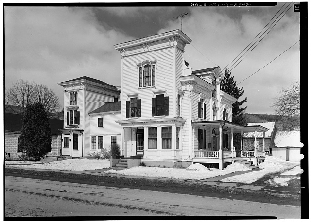 1.  Historic American Buildings Survey, 1963, SOUTH FRONT ELEVATION FROM SOUTHEAST. - Sheldon Hyde House, 97 Second Street, Deposit, Broome County, NY