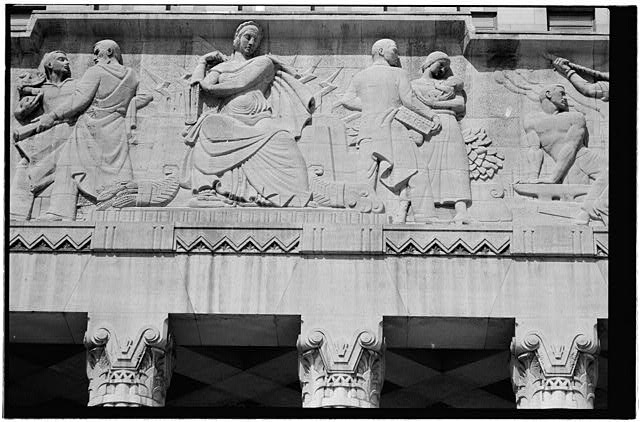 14.  East elevation,central portion of frieze - Buffalo City Hall, 65 Niagara Square, Buffalo, Erie County, NY
