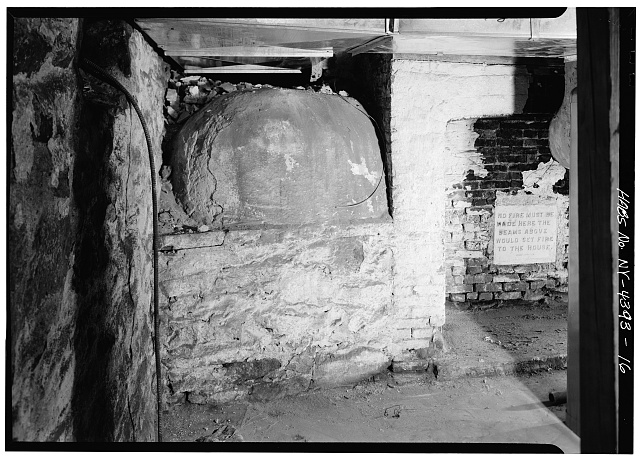 16.  CELLAR, WEST ROOM, BAKE OVEN (NOTE WARNING ON PLAQUE) - John Jay House, State Route 22, Katonah, Westchester County, NY