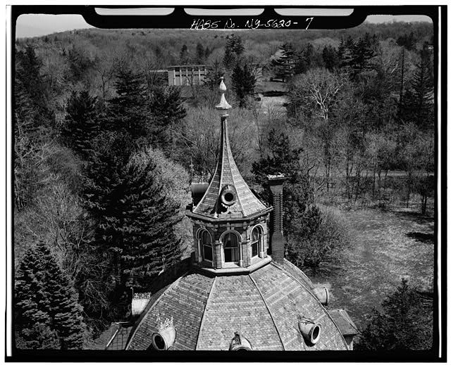 7.  AERIAL VIEW, CLOSEUP OF CUPOLA OF DOME - Armour-Stiner House, 45 West Clinton Avenue, Irvington, Westchester County, NY