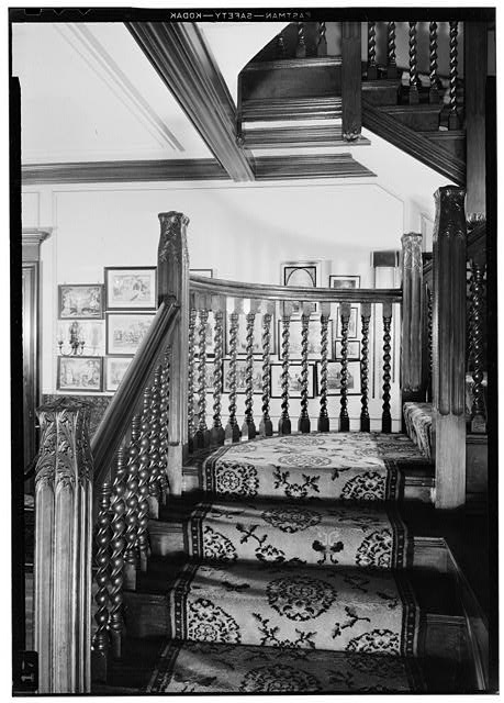 18.  Main Stairway, Close-up of Wood, July 1941. - Springwood, Hyde Park, Dutchess County, NY