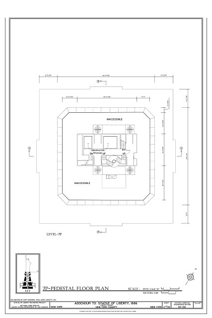 7P-Pedestal Floor Plan - Statue of Liberty, Liberty Island, Manhattan, New York County, NY