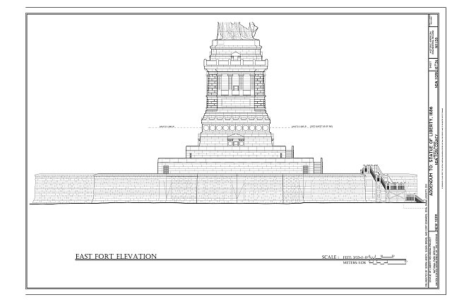 East Fort Elevation - Statue of Liberty, Liberty Island, Manhattan, New York County, NY