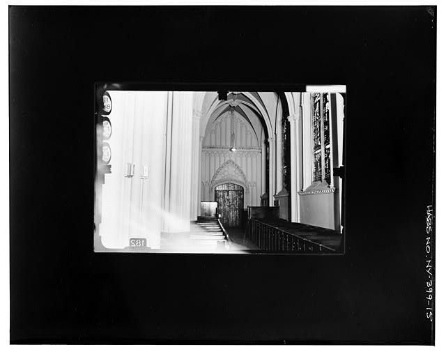 15.  WEST ENTRANCE, NORTH SIDE AISLE Copy photograph of photogrammetric plate LC-HABS-GS07-T-1343-104L. - Grace Church, Broadway, Tenth Street & Fourth Avenue, New York County, NY