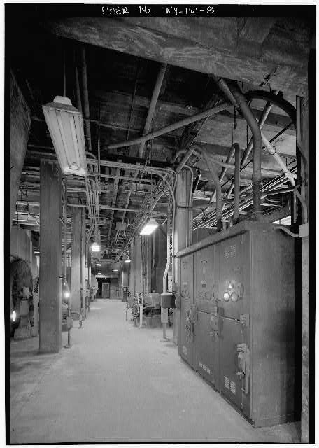 8.  NEW YORK LAND VENTILATION BUILDING, FOURTH FLOOR, DETAIL SHOWING BLOWERS AND MAIN FEEDER STATION - Holland Tunnel, Beneath Hudson River between New York & Jersey City, New York County, NY
