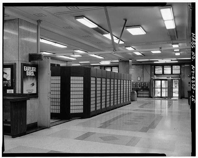 15.  GROUND STORY, POST OFFICE LOBBY LOOKING EAST TOWARD SOUTH ENTRANCE ALONG LEXINGTON AVENUE ARM - Grand Central Post Office Annex, Forty-fifth Street & Lexington Avenue, Southwest corner, New York County, NY