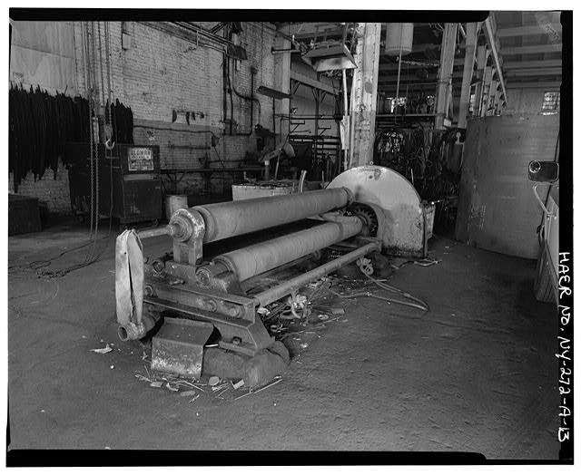13.  SOUTH BAY SHOWING 5/8 X 8 PYRAMID PLATE BENDING ROLLS, VIEW SOUTHWEST - Oldman Boiler Works, Boilershop, 32 Illinois Street, Buffalo, Erie County, NY