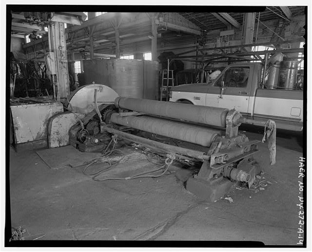14.  SOUTH BAY SHOWING 5/8 X 8 PYRAMID PLATE BENDING ROLLS, VIEW NORTHWEST - Oldman Boiler Works, Boilershop, 32 Illinois Street, Buffalo, Erie County, NY