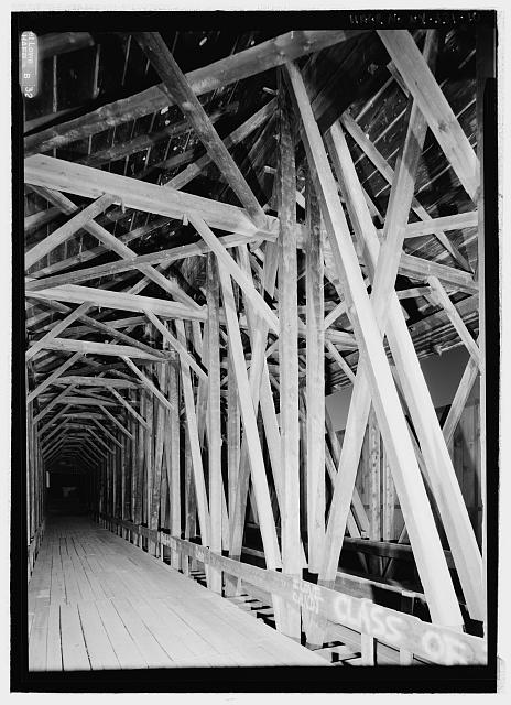 INTERIOR FROM MIDDLE LOOKING WEST. - Blenheim Bridge, Spanning Schoharie Creek, River Road (now bypassed), North Blenheim, Schoharie County, NY