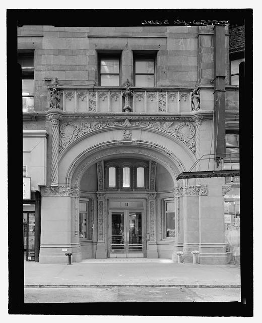 Front Entrance Detail, John Street, South Elevation (with measuring stick) - Corbin Building, 11 John Street, New York County, NY