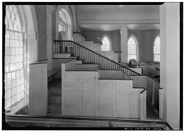 14. Historic American Buildings Survey, Carl F. Waite, Photographer April, 1934 INTERIOR, GENERAL VIEW LOOKING NORTH, FIRST FLOOR - Kirtland Temple (Mormon), 9020 Chillicoth Road, Kirtland, Lake County, OH