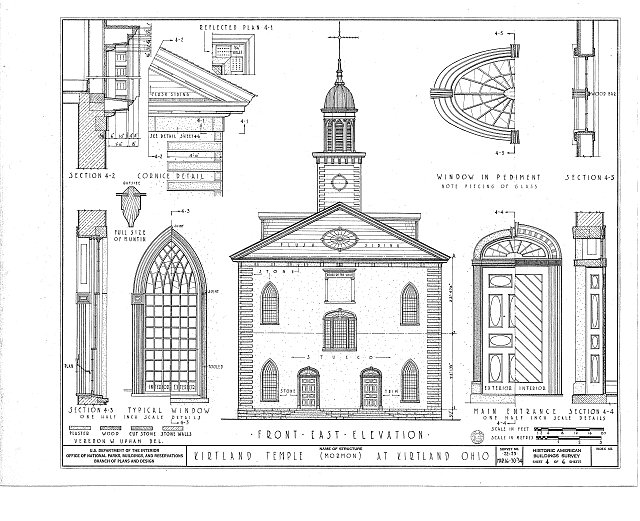 Front East Elevation, Sections, Reflected Plans, Details, Windows, Main Entrance - Kirtland Temple (Mormon), 9020 Chillicoth Road, Kirtland, Lake County, OH