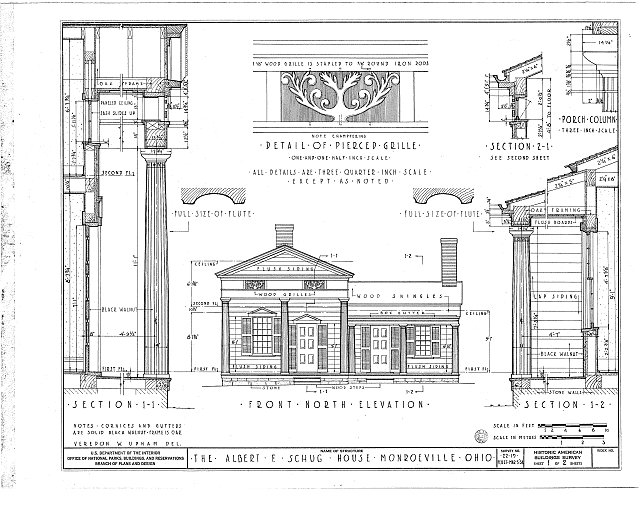 HABS OHIO,39-MONVI,1- (sheet 1 of 2) - Albert F. Schug House, 29 Brown Street, Monroeville, Huron County, OH