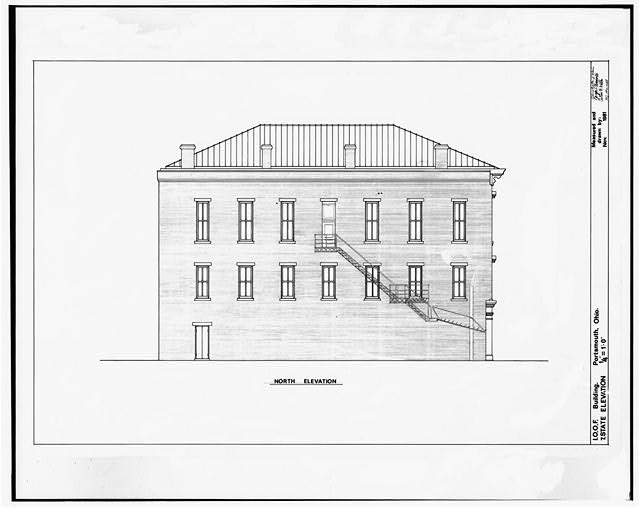 7.  NORTH ELEVATION - Independent Order of Odd Fellows, Court & Fifth Streets, Portsmouth, Scioto County, OH