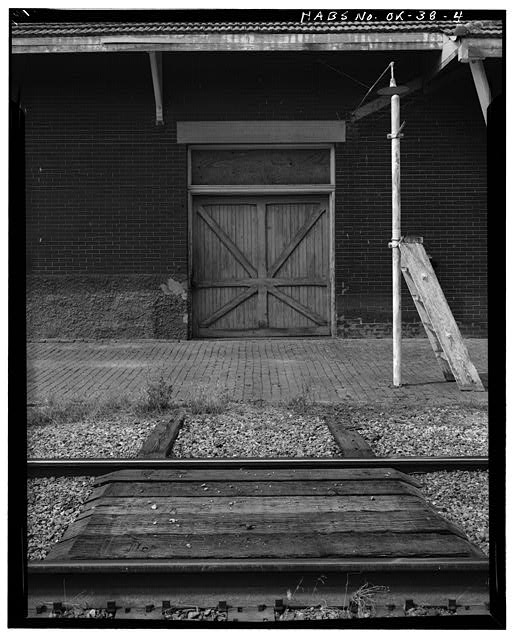 4.  EXTERIOR, FREIGHT DOOR - St. Louis, San Francisco Railroad Station, Perry, Noble County, OK