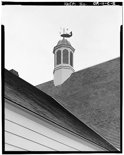 5.  DETAIL EXTERIOR VIEW OF CUPOLA AND WEATHER VANE ON TOP OF THE FISH HATCHERY BUILDING. - Bonneville Project, Fish Hatchery, On Columbia River bordered on South by Union Pacific, Bonneville, Multnomah County, OR
