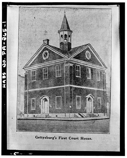 1.  Photocopy of drawing, Source and date unknown OBLIQUE VIEW SHOWING IDENTICAL FACADES - Adams County Courthouse, Gettysburg, Adams County, PA