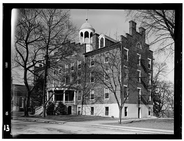 2.  Historic American Buildings Survey, Frederick Tilberg, Photographer March, 1950 FRONT ELEVATION, SOUTHWEST. - Lutheran Theological Seminary,Main Building, Gettysburg, Adams County, PA