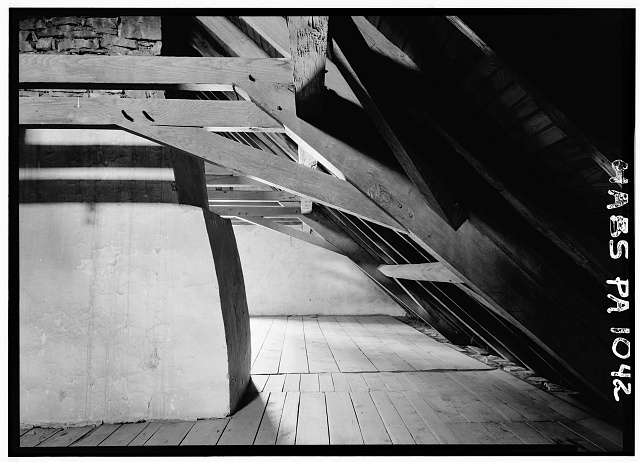 6.  Historic American Buildings Survey, Cervin Robinson, Photographer August, 1958 ATTIC, LOOKING EAST. - Kaufman House, State Route 662 vicinity (Oley Township), Oley, Berks County, PA