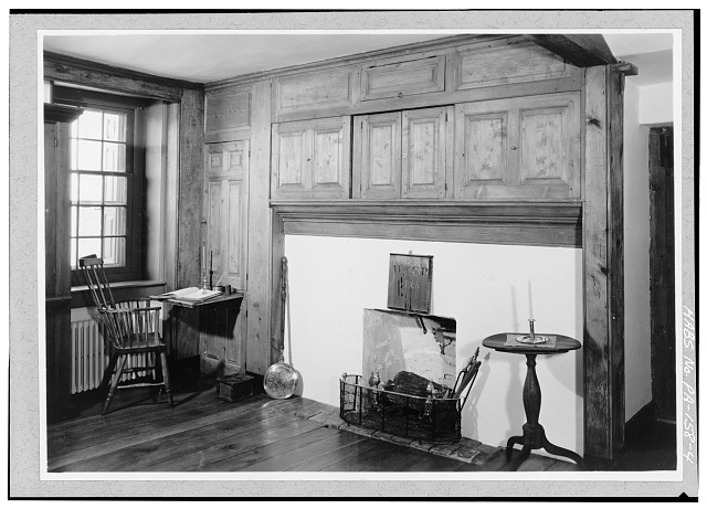 4.  FIRST FLOOR, CENTER SECTION, EAST ROOM, EAST WALL - Pusey House, Woodview Road (London Grove Township), Chatham, Chester County, PA