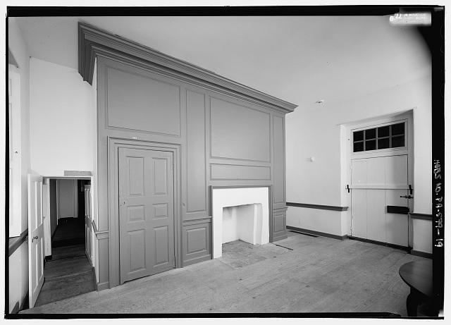 INTERIOR VIEW, GENERAL VIEW ON THE FIRST FLOOR LOOKING WEST TO EAST IN THE DINING ROOM, NOTE FIREPLACE AND CLOSET  - Graeme Park, 859 County Line Road, Horsham, Montgomery County, PA