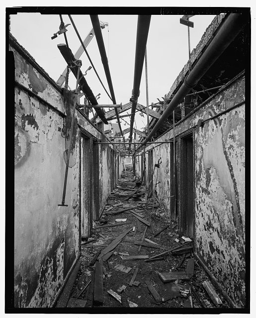 View looking north from the middle of the main corridor on the third floor of the south wing after removal of the monitor. - U. S. Naval Asylum, Biddle Hall, Gray's Ferry Avenue, Philadelphia, Philadelphia County, PA