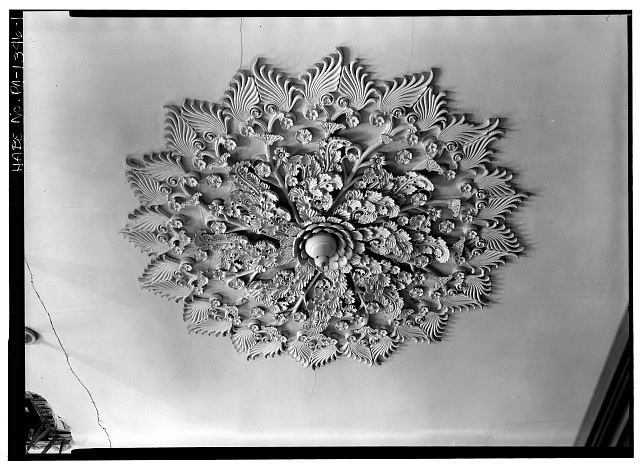 1.  Cervin Robinson, Photographer April 1959 FIRST FLOOR, NORTHEAST ROOM, DETAIL OF CEILING MEDALLION - Thomas Mellon House, 716 Spruce Street, Philadelphia, Philadelphia County, PA