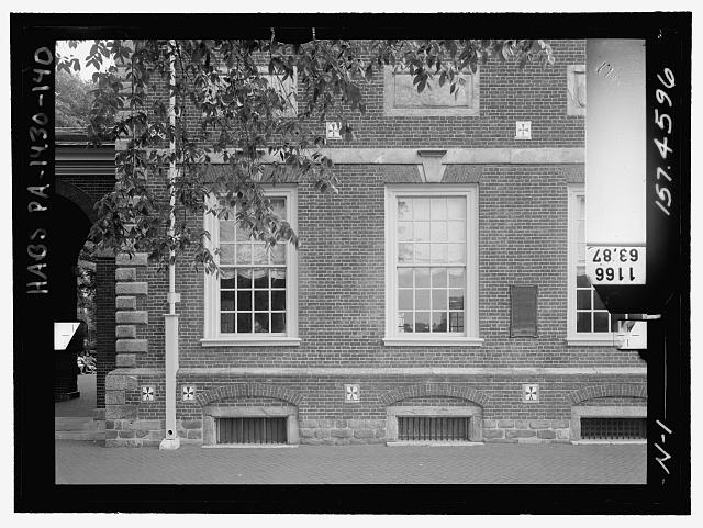 North elevation, lower east. Glass plate stereopair number PA-1430-139 LC-HABS-GS05-N-1 157.4569. Right (not printed) - Independence Hall Complex, Independence Hall, 500 Chestnut Street, Philadelphia, Philadelphia County, PA