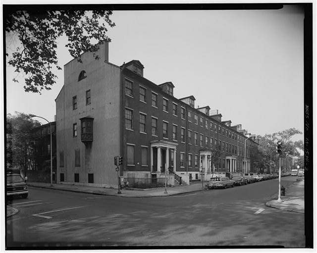 2.  NORTH (FRONT) FACADES, SHOWING EAST END WALL - Portico Square, 900-930 Spruce Street, Philadelphia, Philadelphia County, PA