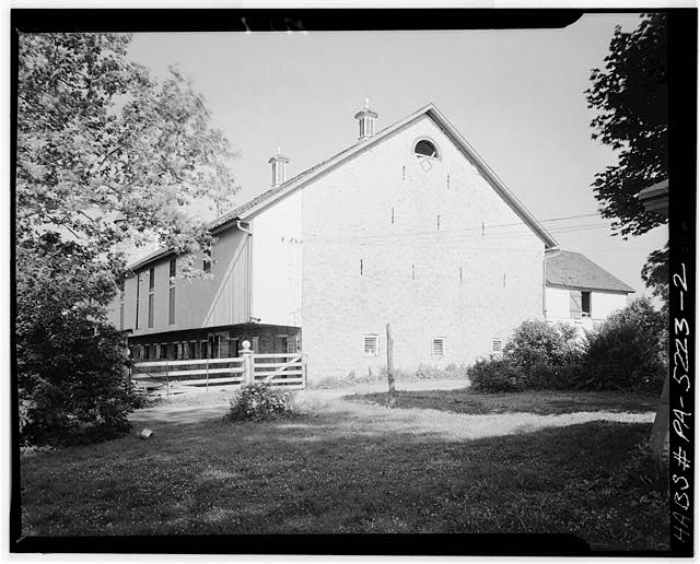 2.  SIDE AND FRONT ELEVATIONS. DATE STONE ON STONE END UNDER LUNETTE - Christian & Fanny Landis Barn (1842), U.S. Route 222, Lancaster, Lancaster County, PA