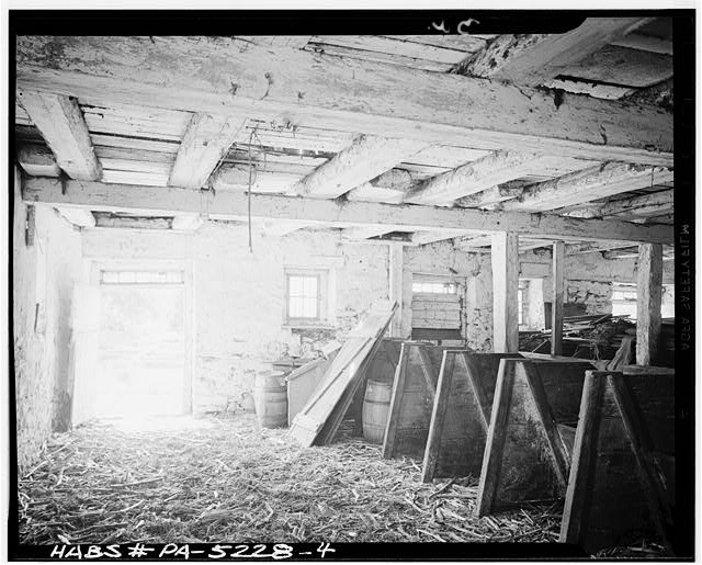 4.  INTERIOR OF STABLE. NOTE FRAMING - Jacob & Elizabeth Miller Barn (1804), U.S. Route 30 vicinity, Lancaster, Lancaster County, PA