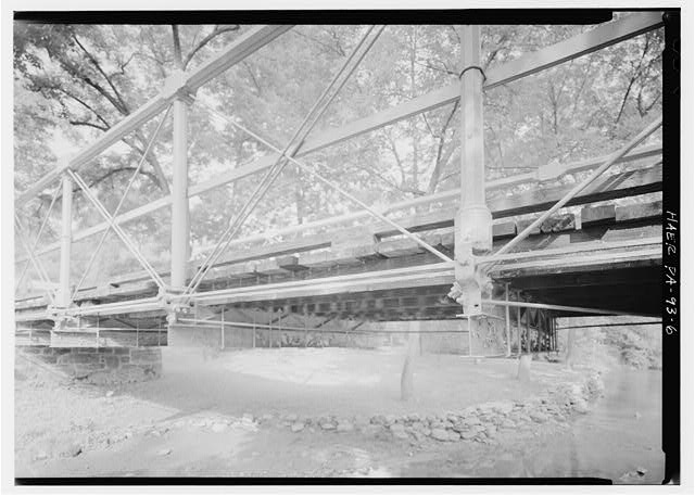 VIEW SHOWING LOWER CHORDS, EAST SIDE OF BRIDGE  - Old Mill Road Bridge, Spanning Saucon Creek, Old Mill Road, Hellertown, Northampton County, PA