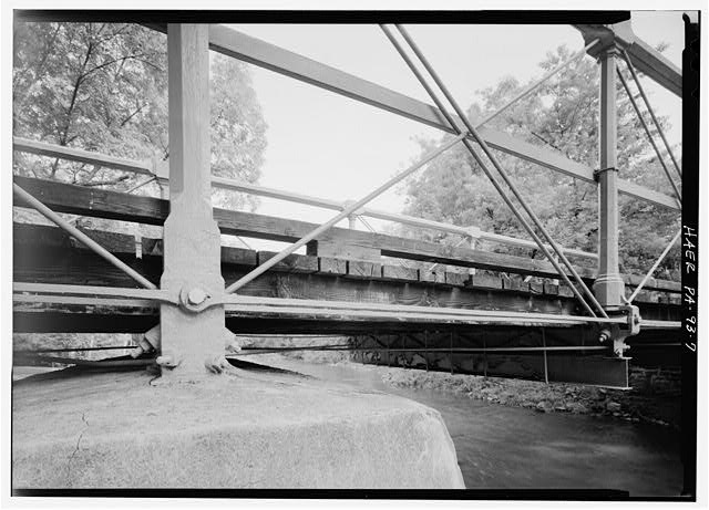 DETAIL VIEW SHOWING WEST SIDE LOWER CHORDS AND CENTER CONCRETE-ENCASED MASONRY PIER  - Old Mill Road Bridge, Spanning Saucon Creek, Old Mill Road, Hellertown, Northampton County, PA