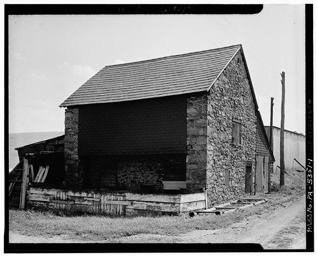 1.  FRONT ELEVATION, NOTE OVERHANG. - Stone Barn, Pleasant Valley, Berks County, PA