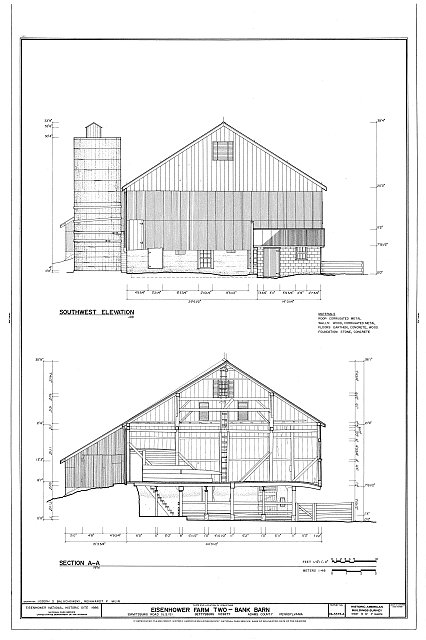 HABS PA,1-GET.V,13-A- (sheet 3 of 7) - Eisenhower Farm Two, Bank Barn, Emmitsburg Road (U.S. 15), Gettysburg, Adams County, PA