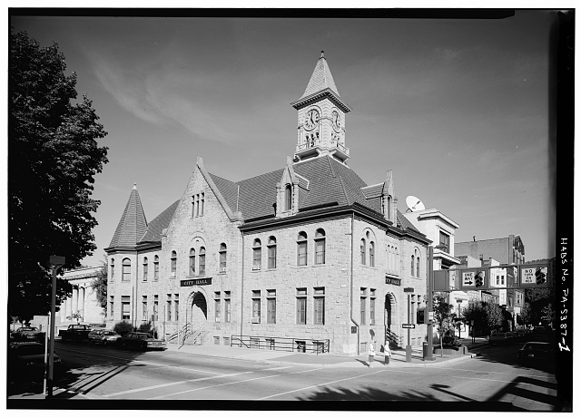 1.  WEST FRONT AND SOUTH SIDE - Johnstown City Hall, Northeast corner of Main & Market Streets, Johnstown, Cambria County, PA