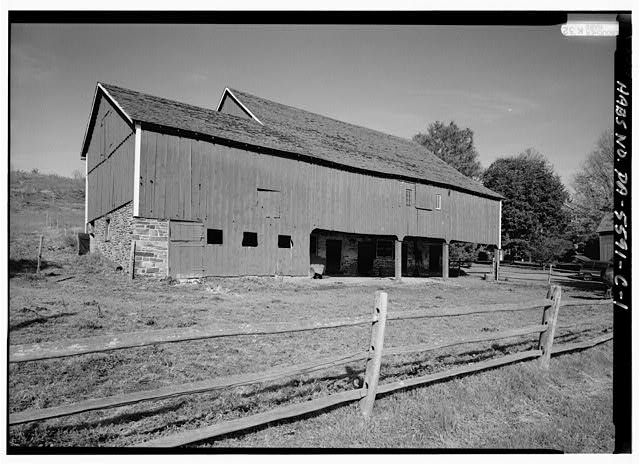 1.  PERSPECTIVE VIEW OF SOUTHEAST (FRONT) AND SOUTHWEST SIDE - High Farm, Barn, Creek Road, 1 mile East of Easton Road, Pipersville, Bucks County, PA
