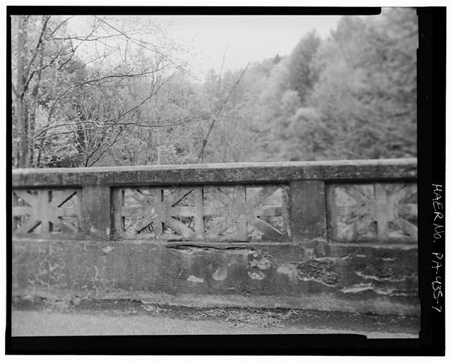 Detail of decorative panel of parapet wall of bridge over little Pine Creek (S.R. 1026, section 002 bridge), looking south - Bridge over Little Pine Creek, State Route 1026 over Little Pine Creek, 2.01 kilometers (1.25 miles) East of Bendertown, Jonestown, Columbia County, PA