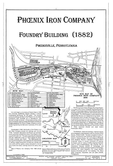 HAER PA,15-PHOEN,4A- (sheet 1 of 10) - Phoenix Iron Company, Foundry Building, Main Street at Mill Street, Phoenixville, Chester County, PA