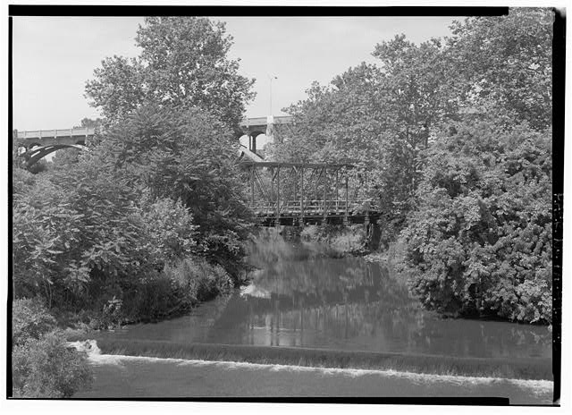 Elevation facing downstream, looking west. - Phoenix Iron Company, French Creek Bridge, Spanning French Creek between Gay Street & Main Street, Phoenixville, Chester County, PA