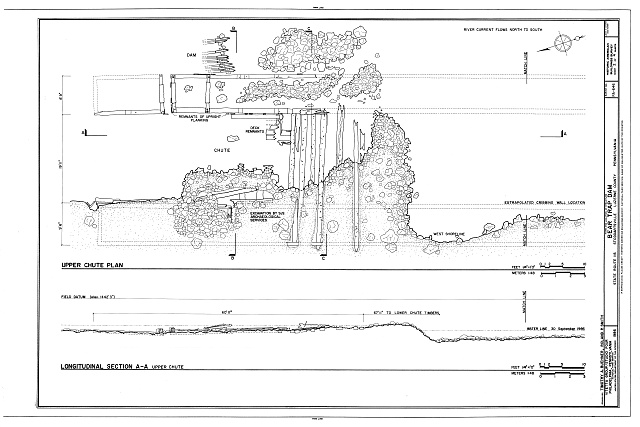 Upper Chute Plan and Section - Bear Trap Dam, State Route 115, Stoddartsville, Luzerne County, PA
