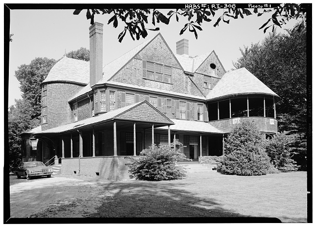 1.  Historic American Buildings Survey, August, 1969 VIEW FROM SOUTHEAST. - Isaac Bell House, 70 Perry Street, Newport, Newport County, RI