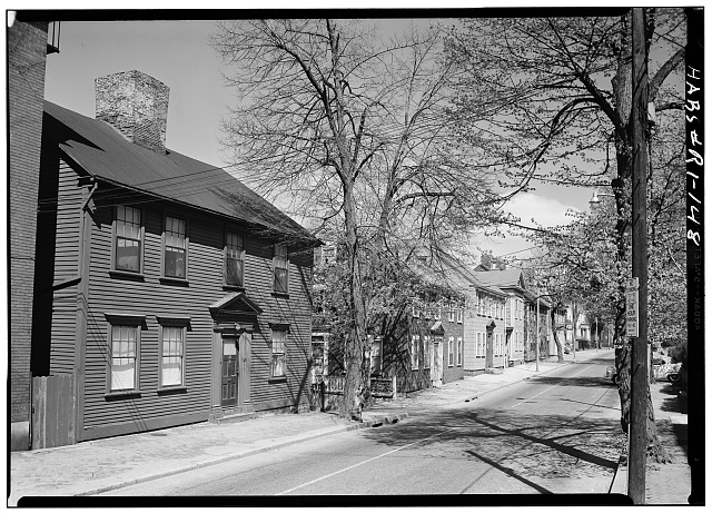 2.  Historic American Buildings Survey, Laurence E. Tilley, Photographer April, 1958 EAST (FRONT) ELEVATION SHOWING WEST SIDE OF BENEFIT STREET NORTH OF THE HOUSE. - Amos Allen House, 62 Benefit Street, Providence, Providence County, RI