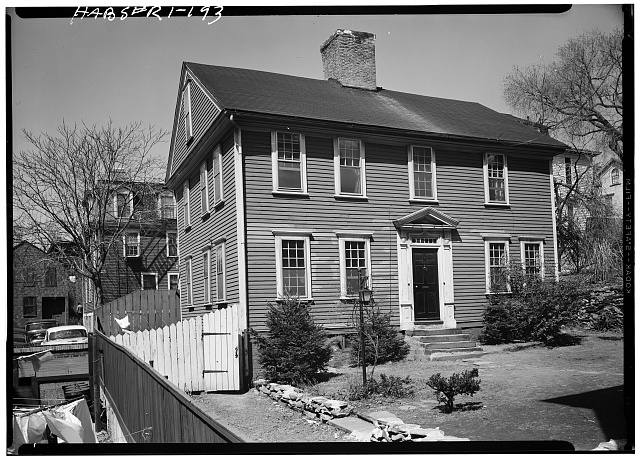 2.  Historic American Buildings Survey, Laurence E. Tilley, Photographer April, 1958 SOUTH (FRONT) AND WEST ELEVATIONS. - Benjamin Cushing House, 38 1/2 North Court Street, Providence, Providence County, RI